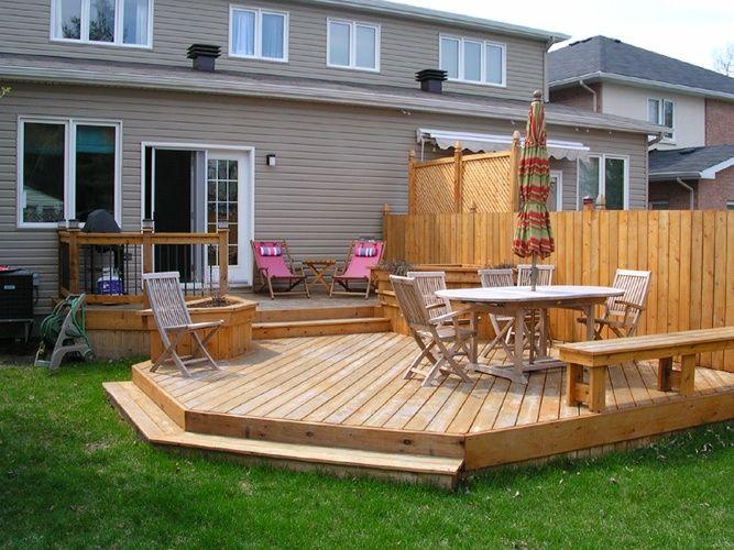 level deck off patio door | Pool & Yard Scape | Pinterest ... on Backdoor Patio Ideas id=73761