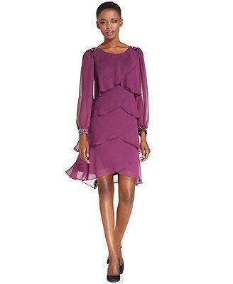 SL Fashions Dress, Long-Sleeve Jewel Tiered