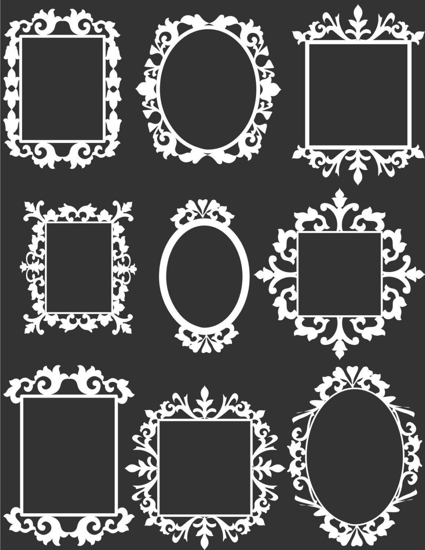9 white decorative frame clip art set digital aprilhovjacky - Decorative Picture Frames