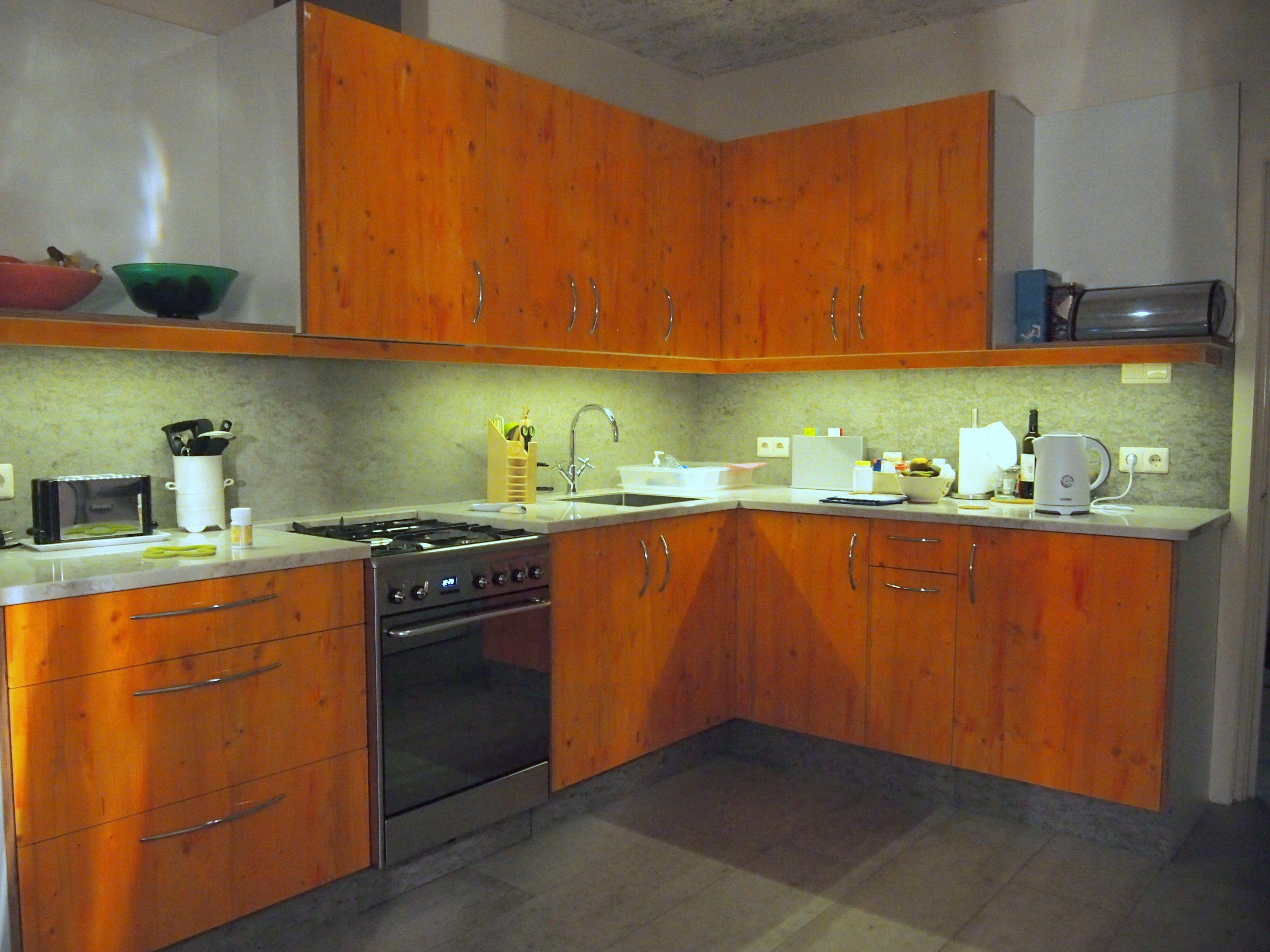 Royal Orange Colour Coating on kitchen Cabinets www.ccoating.nl ...
