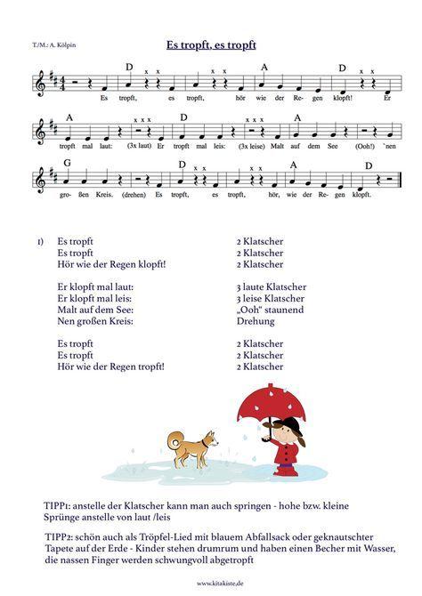Kinderlied Noten Text Es Tropft Kita Projekt Kinder Lied