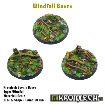 This set contains 3 round 50mm scenic bases. Windfall theme.