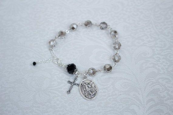 Saint Michael silver shade and black crystal one decade catholic rosary bracelet on Etsy, $12.00