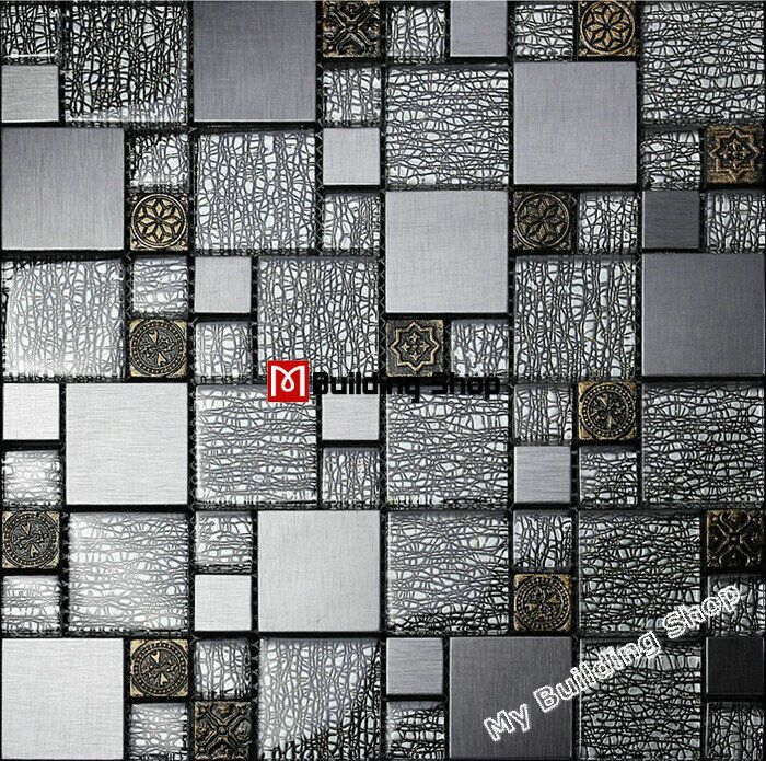 Grey black glass wall tiles kitchen backsplash SSMT308 resin ...