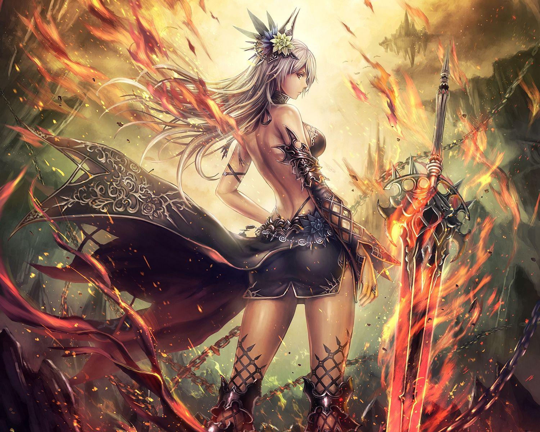Anbe yoshirou chain fire flowers long hair original purple - Anime female warrior ...