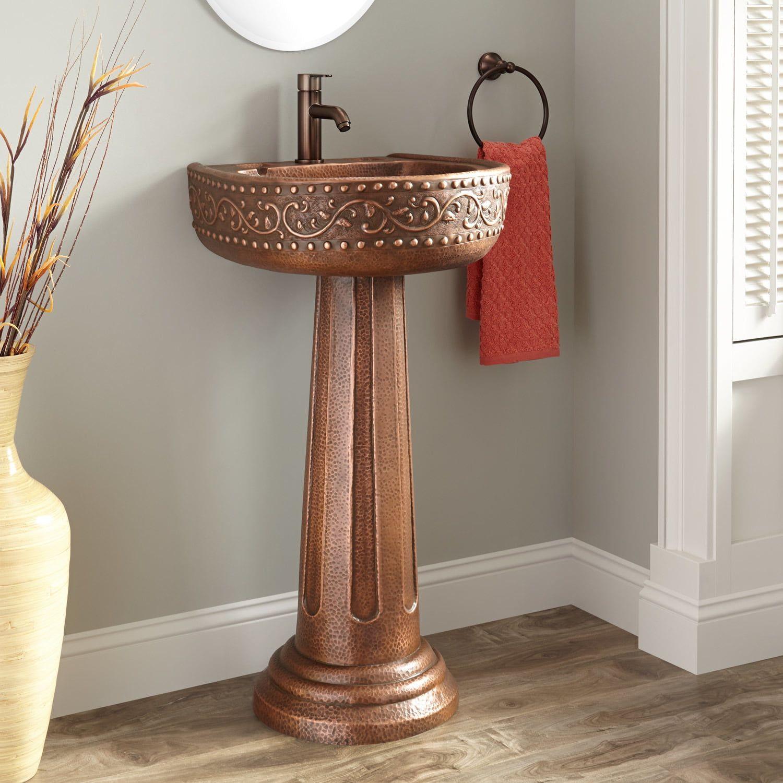 Mtd Vanities Milan Galala Marble 24 Inch Vessel Bowl Sink And Stone Pedistal Set Beige Size Single Vanities Bathroom Furniture Pedestal Sink Bathroom Accessories Luxury