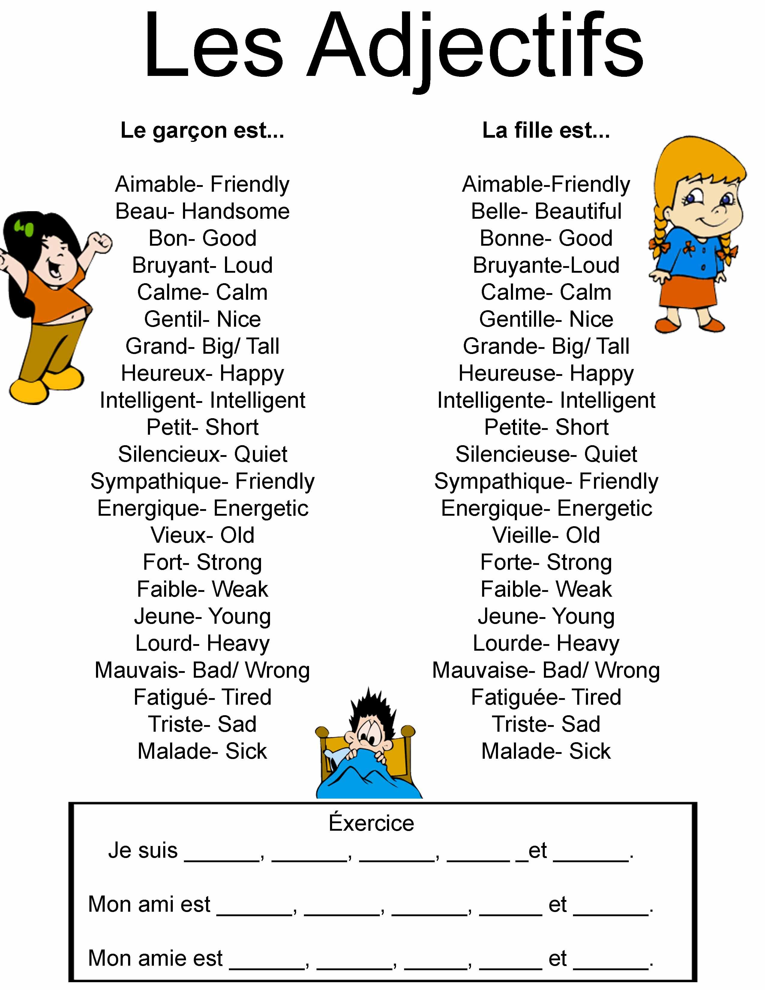 names and French adjectives - Google Search | A French teacher ...