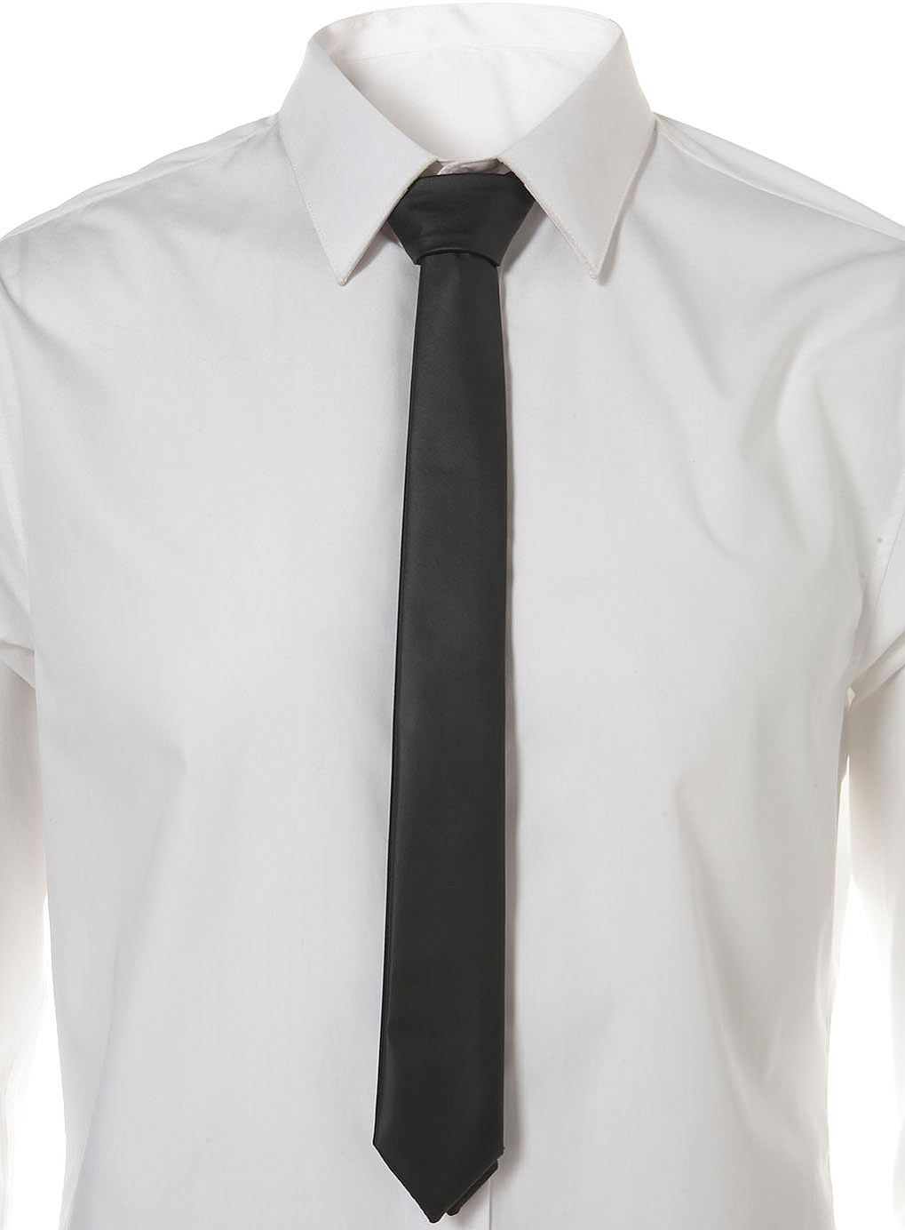 BLACK FAUX LEATHER TIE from #Topman