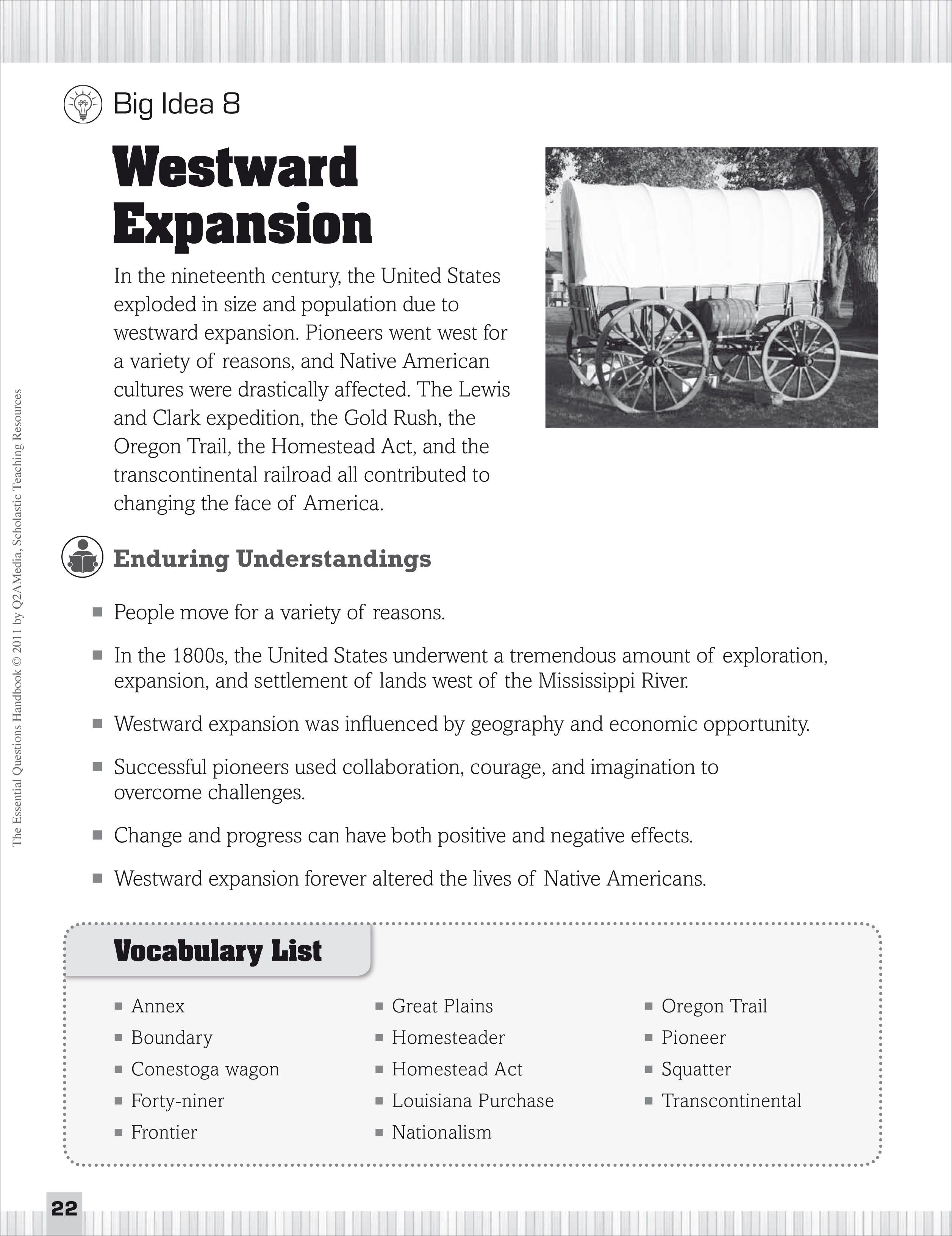 Westward Expansion Essential Questions For Social Stu S