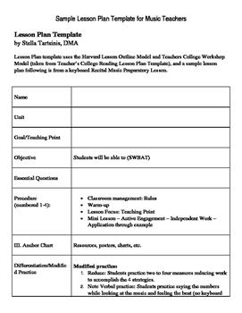 Sample Music Lesson Plan Classroom Music lesson plans