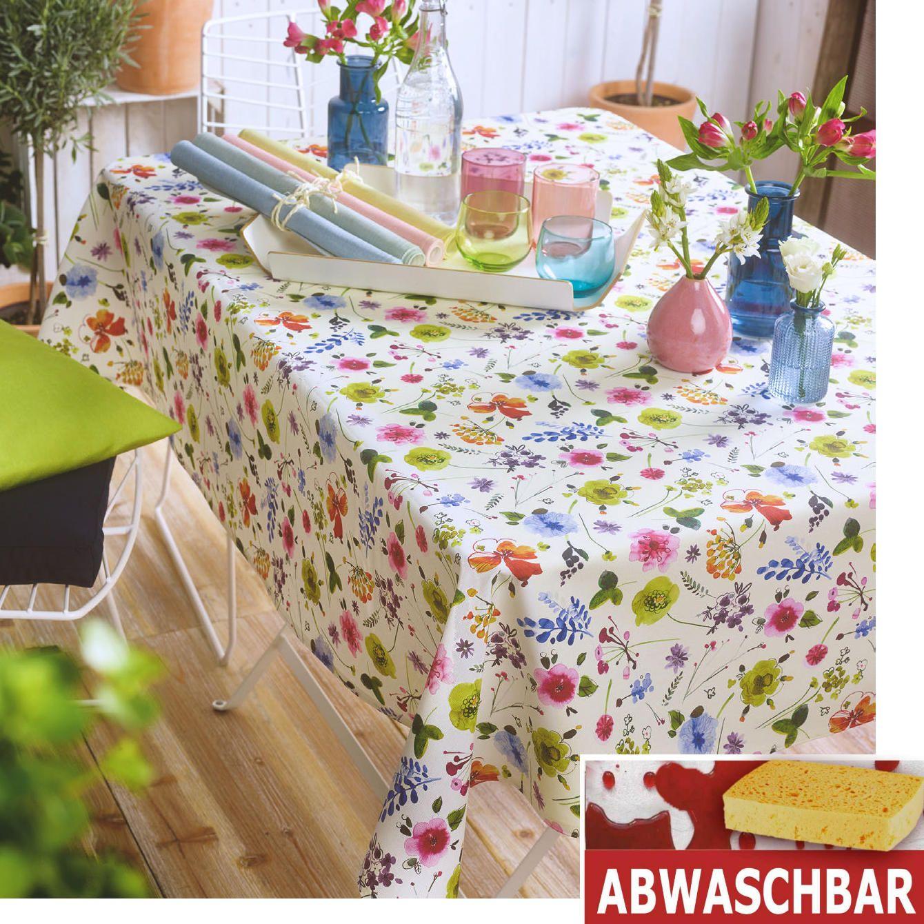 Fur Kuche Und Garten Abwischbare Tischwasche Mit Blumenmuster Bunt Wie Das Pralle Leben Ist Die Gartenserie Mallorca In Uppig Tischdecke Tischset Mitteldecke