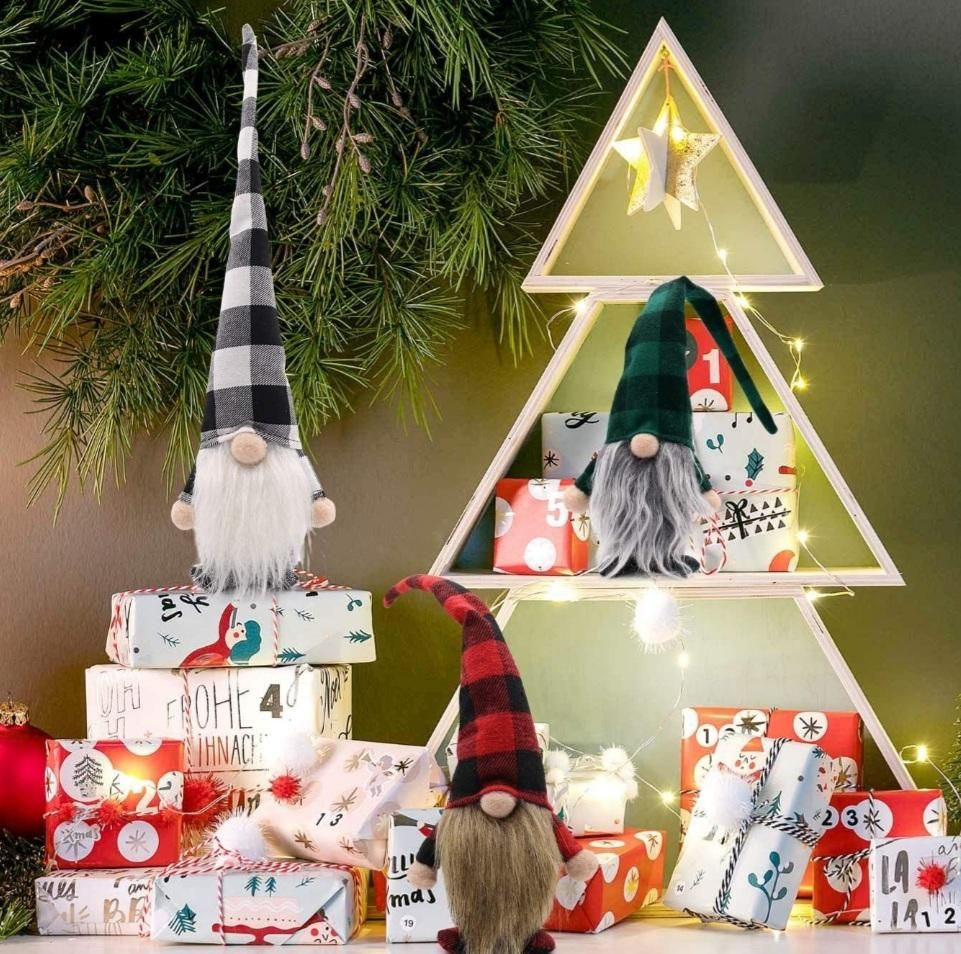 Set of 3 Buffalo Plaid Swedish Santa Gnomes Winter Plush Elf Dwarf Handmade Tomte Nisse Tonttu Figurines Home Decoration 15 Inches