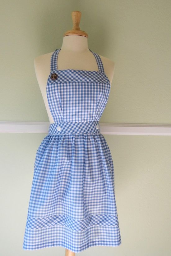 Wizard of Oz Dorothy Blue and White Gingham Checked Pinafore Apron