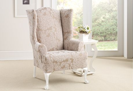 sure fit wing chair slipcover french dining chairs melbourne slipcovers stretch forest