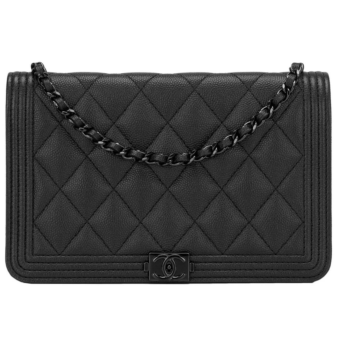 Chanel SO Black Quilted Caviar Boy Wallet On Chain (WOC) | Black ... : black quilted wallet - Adamdwight.com