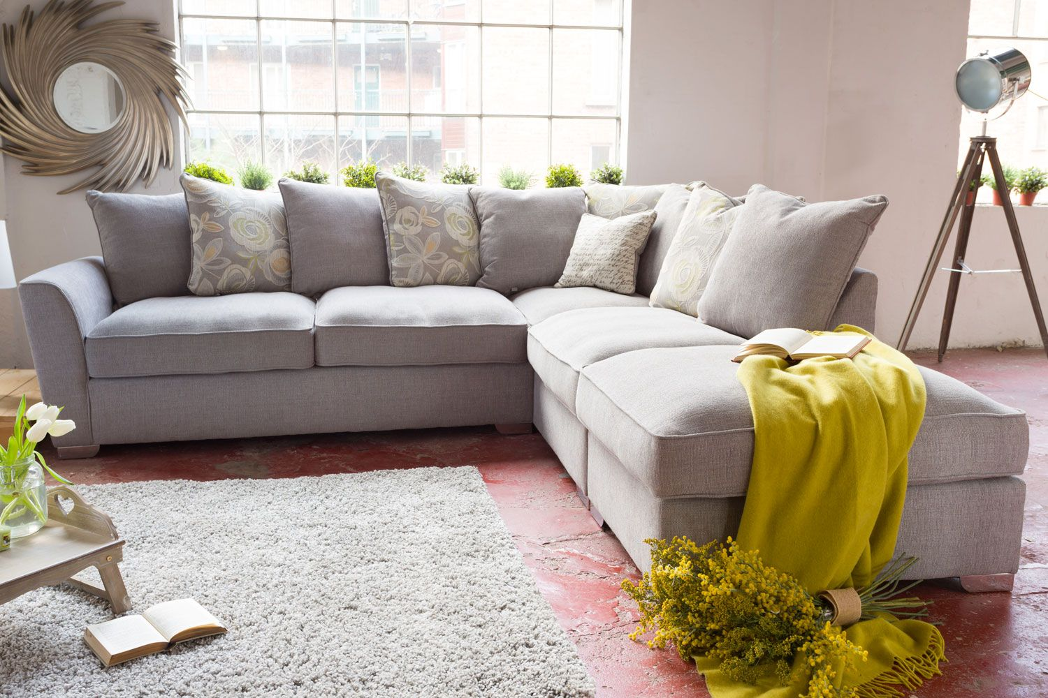 Fantasia Corner Sofa Cream Fabric Sectional Sofas
