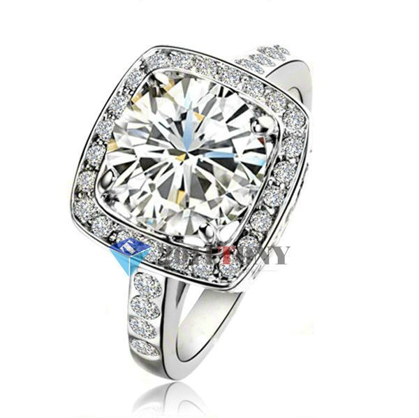 4Ct Simulated Diamond Wedding Ring 18K White Gold Plated Use Austrian Crystal