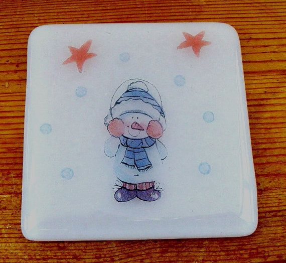 Cute Christmas Snowman Fused Glass Coaster UK by shineon2 on Etsy, £5.50