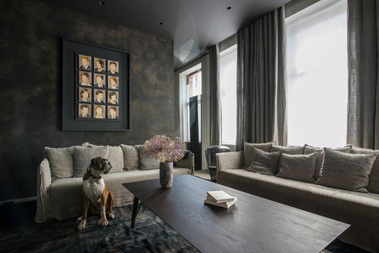 Anthrazit Farbe Wand Grau Braun Wohnzimmer Kombinieren