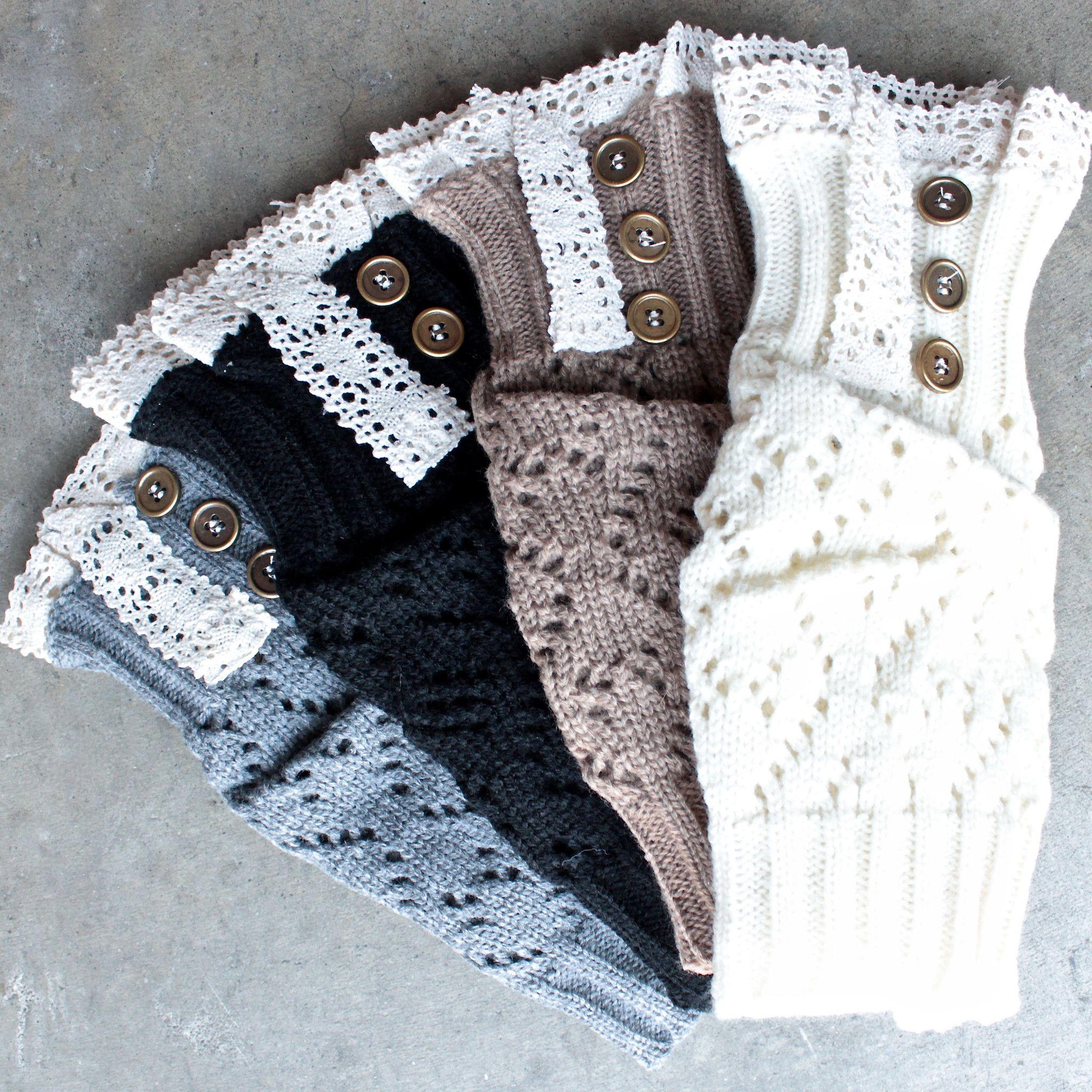 Knit lace 3 button boot cuffs (4 colors)   Botas, Medias y Todo moda