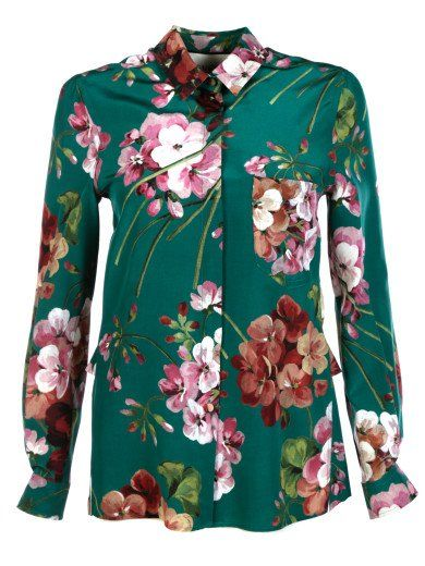 cc644182 GUCCI Gucci Blooms Print Silk Button-Down Shirt. #gucci #cloth #shirts