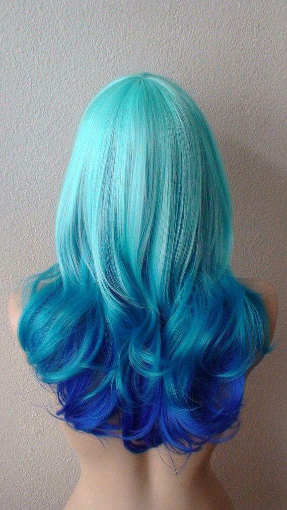 mint blue teal electric blue tri colors ombre wig von. Black Bedroom Furniture Sets. Home Design Ideas
