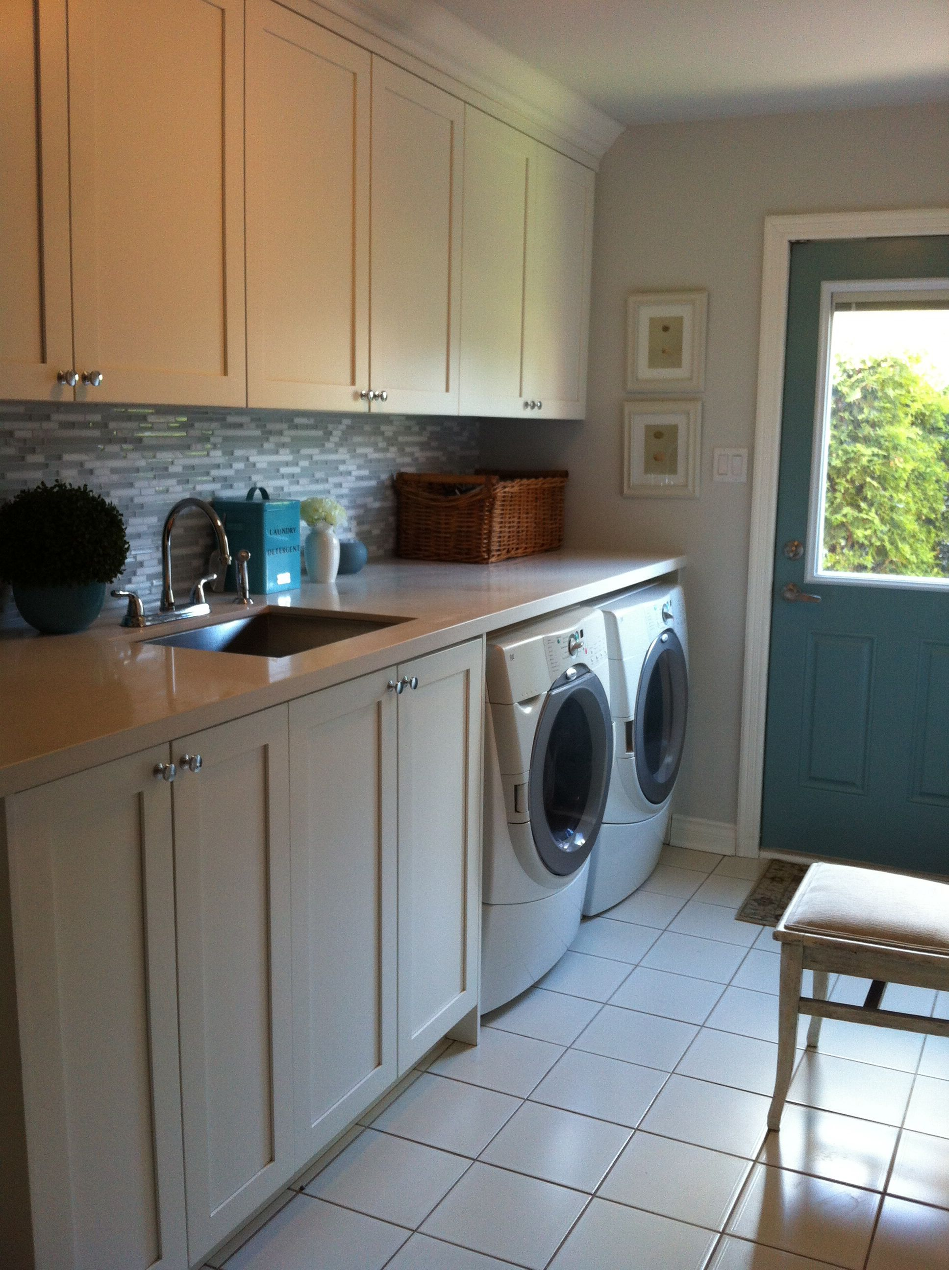 Benjamin Moore Simply White Laundry Room Cabinets, Teal Accents, Walls