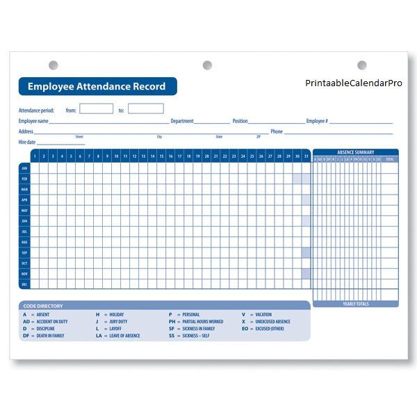 Attendance Tracking Template Free Word Excel Documents Record