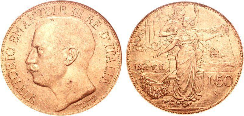 a0c53a5e40 Vittorio Emanuele III. 50 lire 1911 donna su prora | MONETE ...