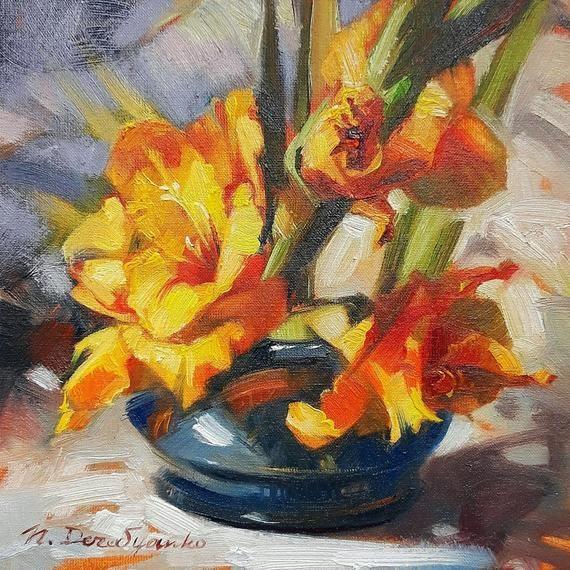 Burnt Orange Gladiolus Painting Original Art Of Flowers On Canvas