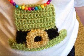Vet School Widow: Free Leprechaun Hat Applique Crochet Pattern for St. Patrick's Day