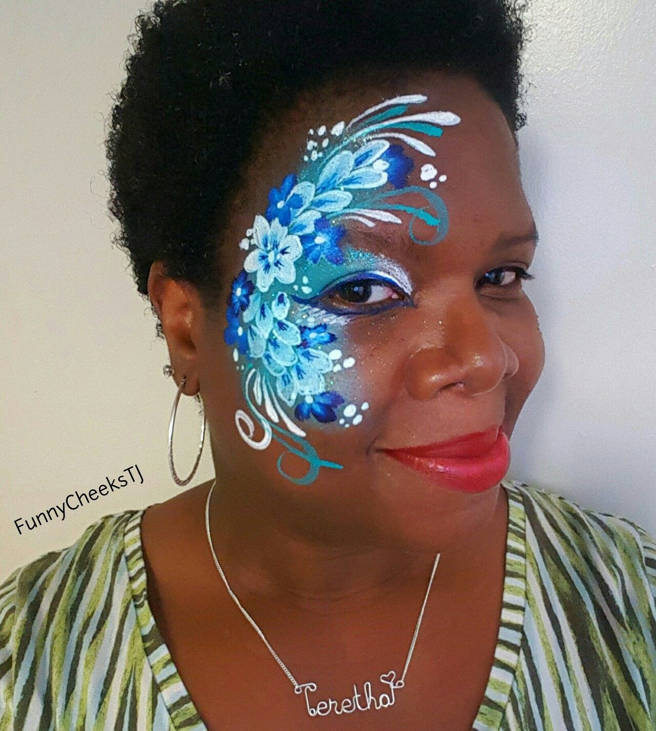 Blue And White Flower Eye Design Face Painting By Funnycheekstj Of Funny Cheeks Dallas Face Painting Face Painting Face Painting Flowers Face Painting Designs