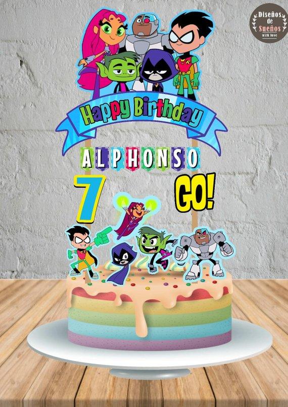 Teen Titans Go Cake Topper, Teen Titans Go Birthday, Teen Titans ...