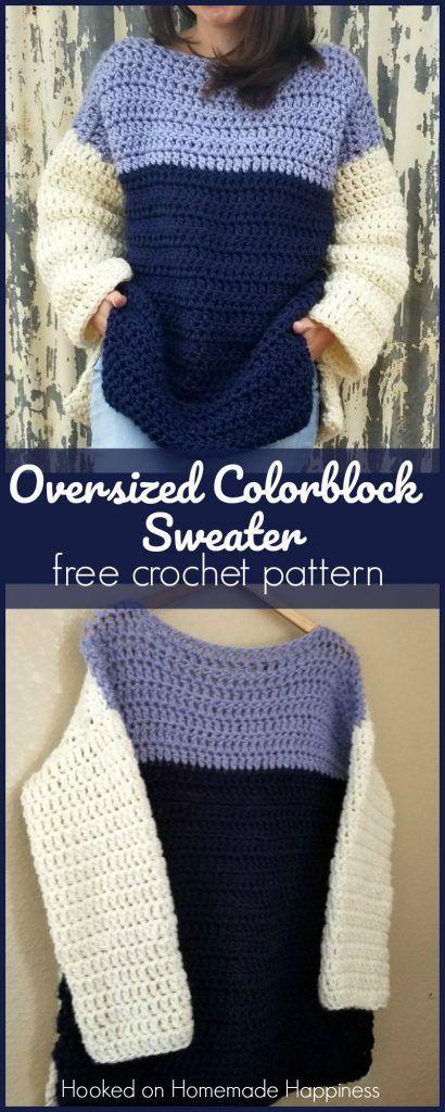 Oversized Color Block Crochet Sweater Pattern