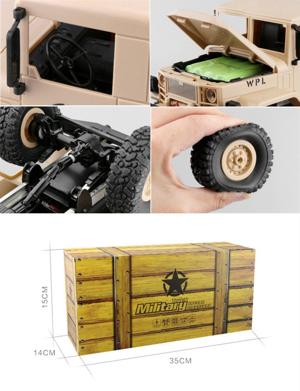 RC CarWPLB14 1/16 Toy Grade 4WD RC Military Truck Wireless