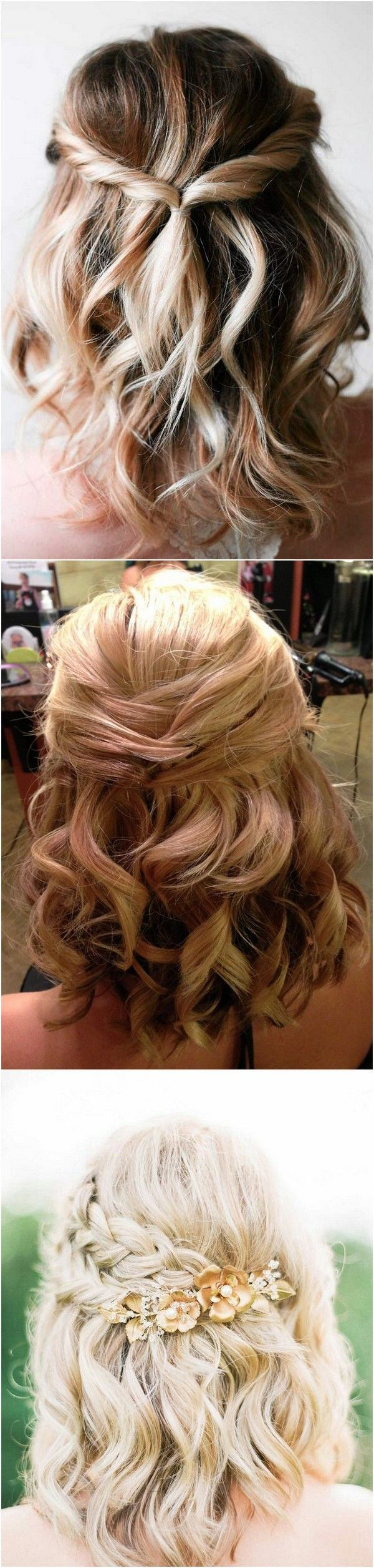 Half Up Half Down Easy Bridal Hairstyles For Medium Length Hair