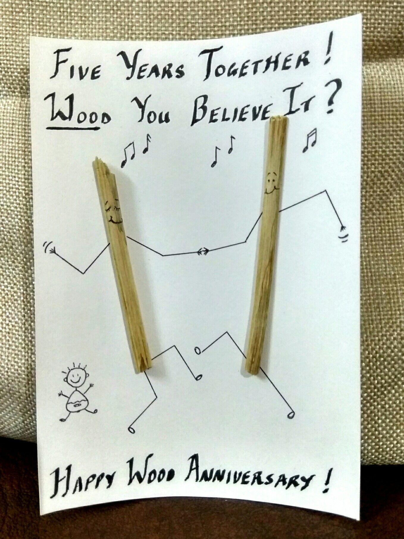 Diy Wood Anniversary Card 5th Wedding Anniversary Card Wood Stick Figure Puns Diy Anniversar Wood Anniversary Wedding Anniversary Cards Anniversary Diy