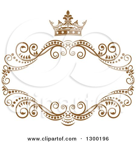 Clipart Of A Vintage Brown Swirl Floral Wedding Frame With Crown