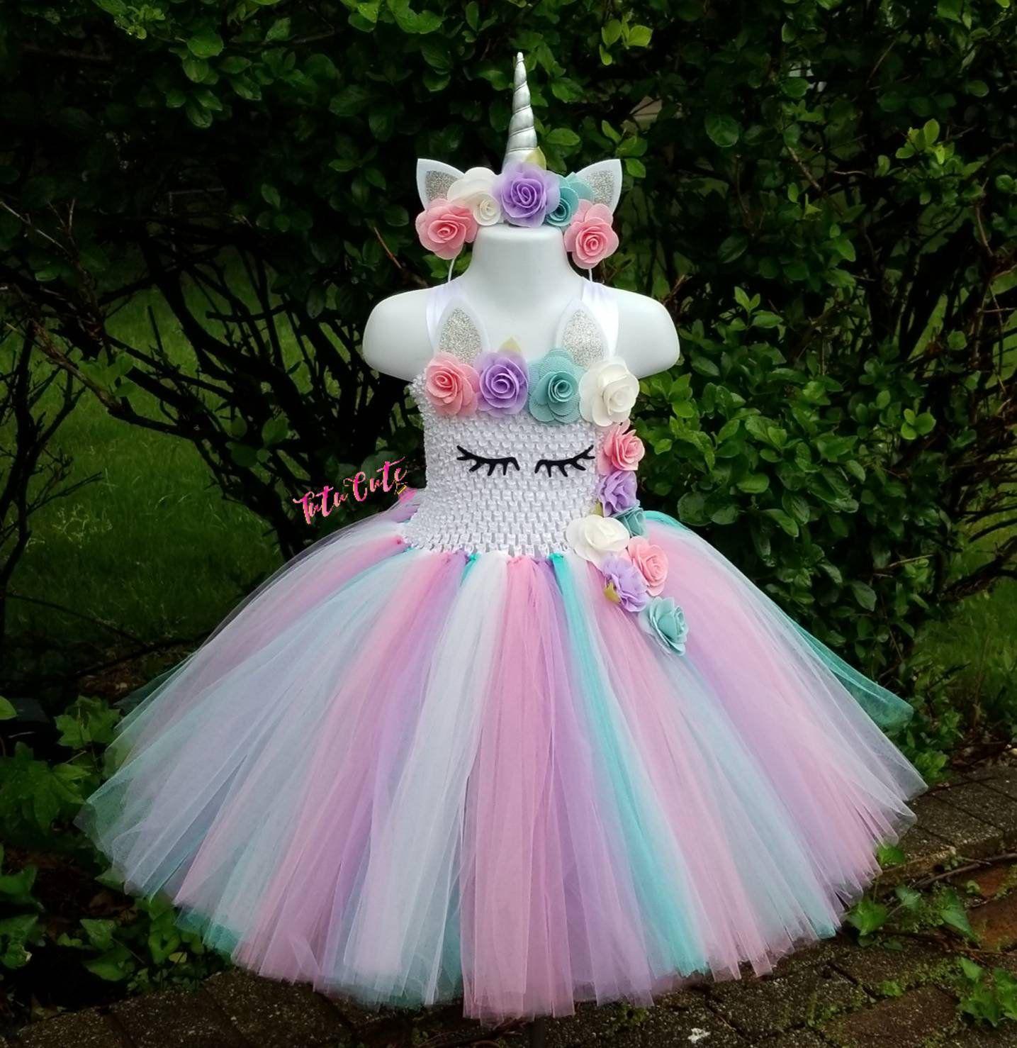 Baby Girls Birthday Party Dress Set Tutu Tulle Princess Outfit Unicorn Headband