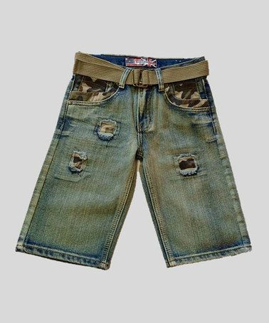 Another great find on #zulily! Blue Tint Camo Belted Denim Shorts - Boys by GS 115 #zulilyfinds