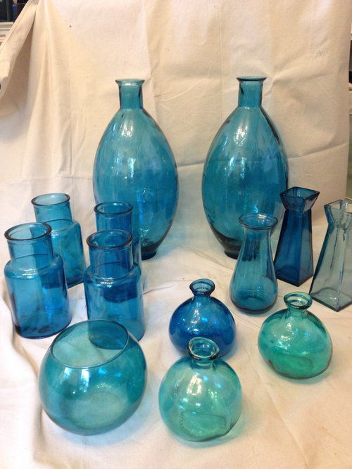 Collection Of 13 Beautiful Turquoise Vases San Miguel By Vidrios