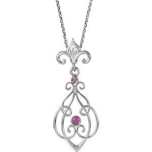 """Sterling Silver Ruby & .01 CTW Diamond 18"""" Necklace"""