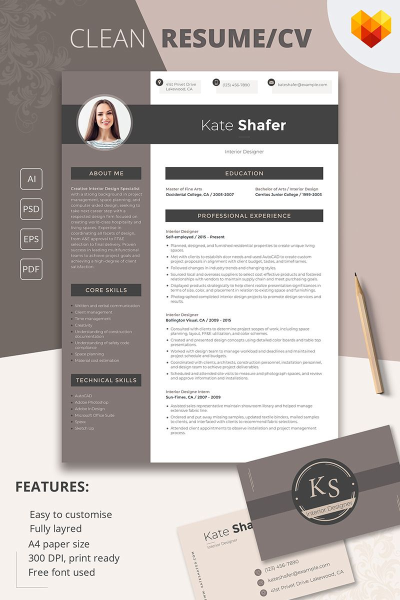 CV for Interior Designer https://www.motocms.com/cv-builder/ #resume ...