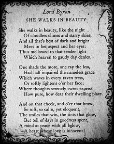 she walks in beauty lord byron - Google Search | Poetry ...