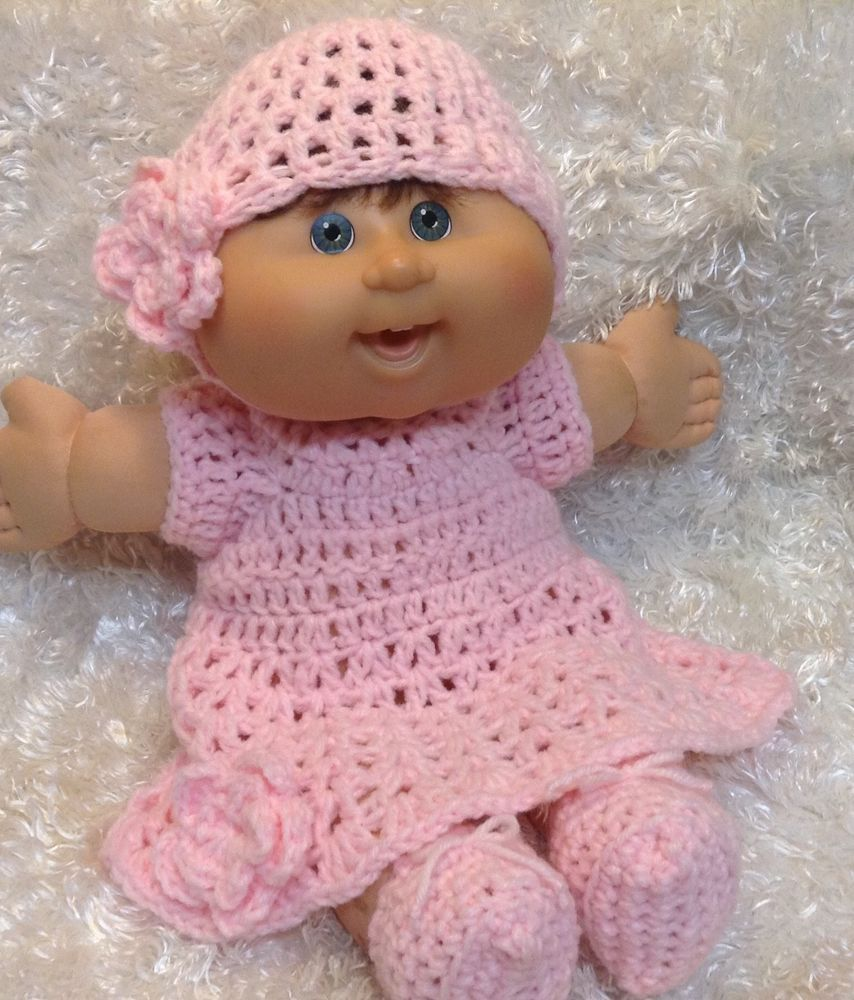Handmade Clothes For 14 Inch Cabbage Patch Doll.Light Pink Dress Set ...