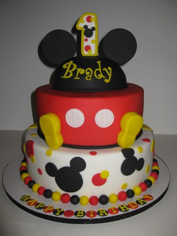 Pleasing 1St Birthday Cakes For Boys Mickey Mouse Birthday Cake Designs Personalised Birthday Cards Veneteletsinfo