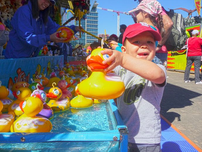 The ducks are always popular for the little ones. Sideshow Alley, Ekka  http://togetherweroam.com/braving-the-ekka-with-kids/
