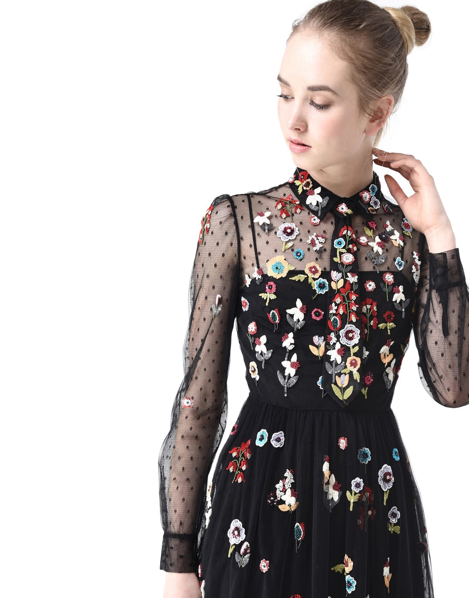 fef55ea60dc RED Valentino Fancy Flower Embroidered Tulle Dress - Dress Women ...