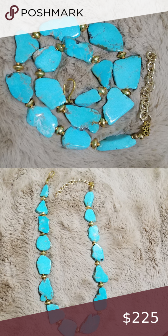Chrysocolla and Turquoise Necklace Chrysocolla Necklace Gold Kingman Turquoise