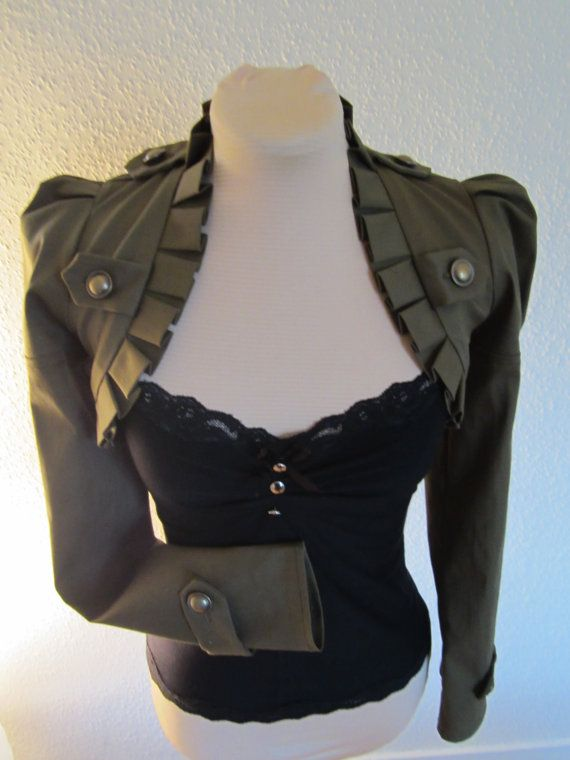 Military Green Steampunk Short Bolero Jacket By